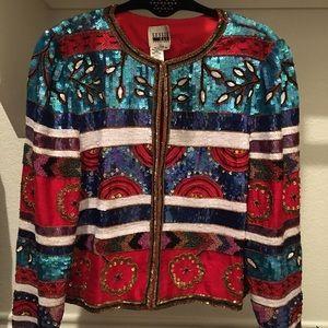 Leslie fay sequin beaded jacket